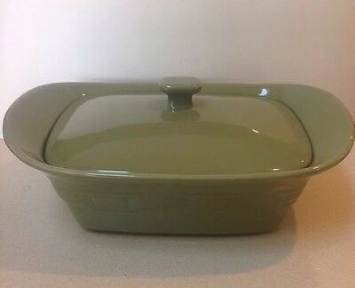 LONGABERGER POTTERY WOVEN TRADITIONS SAGE GREEN 1.5 At Casserole Dish W/ Lid