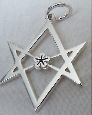 . 925 Sterling Silver  HEXAGRAM PENDANT /Thelema/Magick/Aleister Crowley