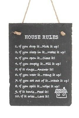Slate Grey 'House Rules' Hanging Sign Plaque 20cm x 15cm