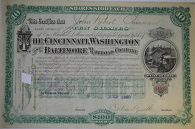 Cincinnati, Washington and Baltimore Railroad Co Stock Certificate, 1883, Cancel