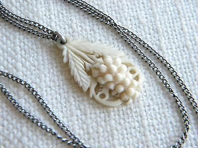 antique Victorian CARVED grapes pendant on chain necklace ~