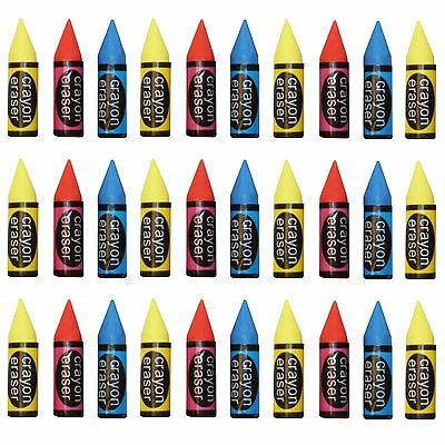 30 School Groups Party Bag Filler For Kids - Colour Rubber Crayon Erasers