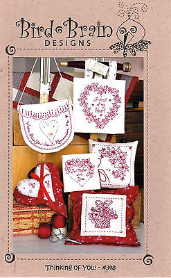 "Bird Brain Designs Embroidery Craft Pattern 348 ""Thinking Of You"" Redwork Crewel"