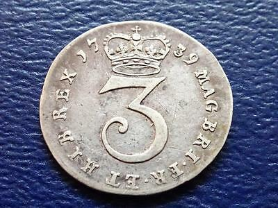 George Ii Silver Threepence 1739 Great Britain Uk