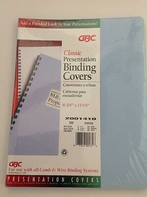 "GBC Classic Presentation Covers 8-3/4"" X 11-1/4"" 25 Sets Sky Blue Office NEW"