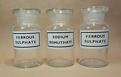 3 Vintage Glass APOTHECARY Bottles Stoppers 1950's VGC Sodium Ferrous Sulphate