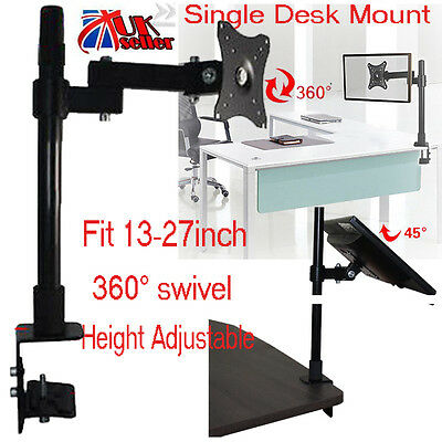 """Single Arm LCD LED Monitor Desk Computer TV  Stand Mount for 13-27"""" Inch Screens"""