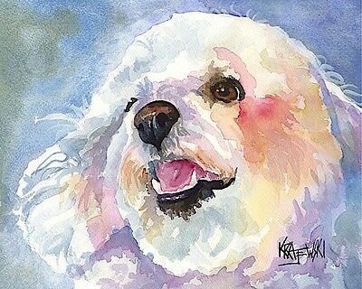 Bichon Frise Dog Art Print Signed by Artist Ron Krajewski 8x10