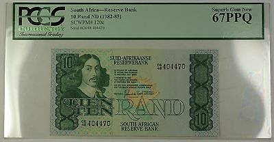 (1982-85) No Date South Africa 10 Rand Bank Note SCWPM# 120c PCGS Gem 67 PPQ