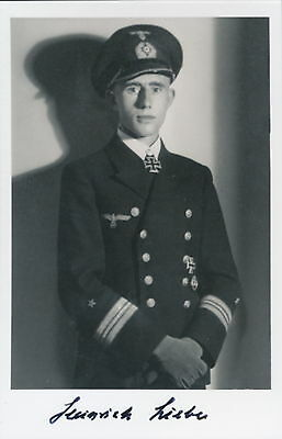 Heinrich Liebe signed photo. Cpt U-38. Kriegsmarine Oakleaves winner.