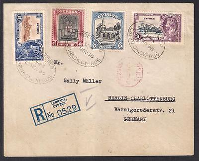 CYPRUS 1935 COVER TO GERMANY with 41/2+6pi 1934 & 21/2+9pi 1935 SILVER JUBILEE