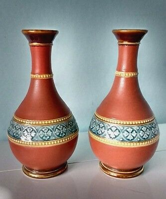 PAIR MINIATURE VASES in the Royal Doulton Stoneware Style