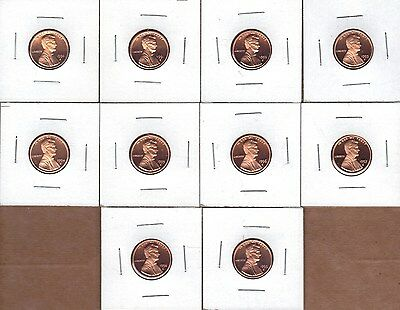 1990-S To 1999-S Dcam  Proof Lincoln Cents (10 Coin Run)