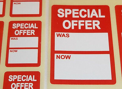 Bright Red Was / Now Price Point Stickers Swing Tag Sticky Labels