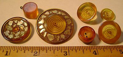 Lot of 7 Vintage AppleJuice Celluloid Catlin Casein Buttons - OLD - Used - As Is