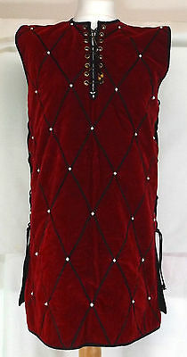 Crimson Red Medieval Sleeveless Laced Tunic LARP Clothing REAL Pearl Beads M