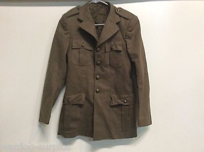 Vtg Italian Army Italy Dress Uniform Coat Top Jacket Size 44 Brown With Gloves