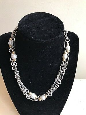 """Authentic David Yurman 18K Gold & SS Figaro Chain Necklace w/ Pearl Stations 34"""""""