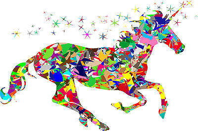 Unicorn Horse Colourful Magical Fantasy WALL ART CANVAS FRAMED OR POSTER PRINT