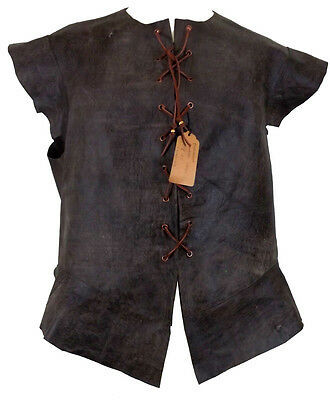 """Brown Distressed Leather Pirate Medieval Jerkin Vest Size L 44"""" Chest LARP"""