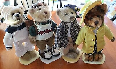 "LOT of 4 Brass Button Teddy Plush Bear 11"" - 20th Century Collectibles"