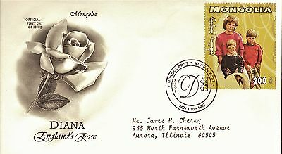 Mongolia First Day Cover 1998 In Memory Of Princess Diana
