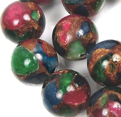 12mm Ruby Sapphire Emerald in Quartz with Pyrite Round Beads (16)