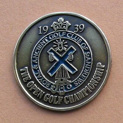 """1939  British Open Hand Painted Golf Ball Marker  1"""" Coin Old  St Andrews"""