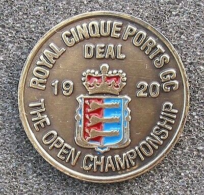 "1920 Open Golf Championship Hand Painted Ball Marker 1"" Coin Royal Cinque Ports"