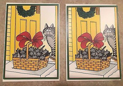 "N 2 KLIBAN KILBAN CAT CHRISTMAS HOLIDAY CARDS ENVELOPES ""Seasons Greetings"" RARE"