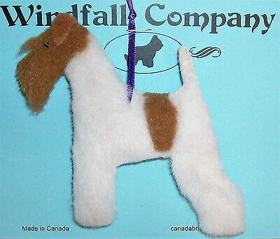 Ginger Wire Fox Terrier Dog Soft Plush Christmas Canine Ornament by WC