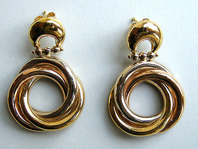 Gold Earrings, 18 carat, 3-colour Trinity style jewellery