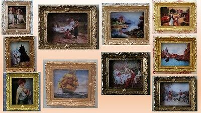 1:12 scale dolls house miniature classic pictures  in gold frames choice of 10.