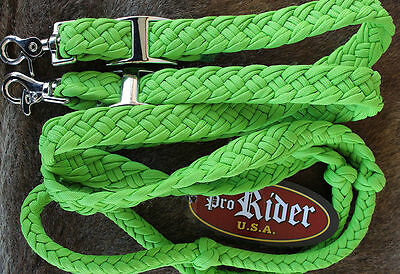 Roping Knotted Horse Tack Western Barrel Reins Nylon Braided Lime Green 60729