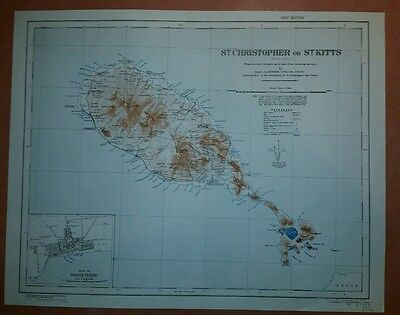 1942 US Army Map St. Christopher or St. Kitts GSGS 2941