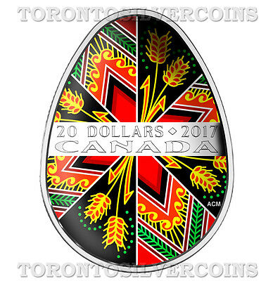 2017 Canada Traditional Ukrainian Pysanka $20 Egg Shaped Silver Coin   In Stock