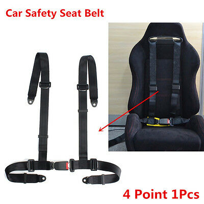 Universal Vehicle Racing Auto Car 4 Point Safety Harness Strap Seat Belt Black