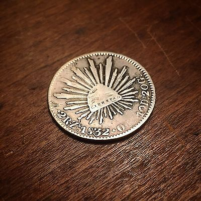 1832 Mexico Silver 2 Reales- Cap And Rays, Good Details