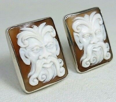 Cameo Shell Hand Carved Italian Cufflinks in Silver