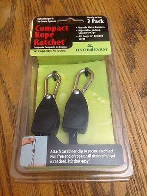 Hydrofarm Compact Rope Ratchet 2 Pack CN10005 Light Hang & Tie Down 6' Cords New