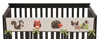 Forest Animal Long Front Rail Guard Baby Boy Teething Cover Protector Crib Wrap