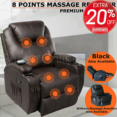 Massage Recliner Chair Sofa Lounge 360 Degree Swivel - 8 Point Heated or Normal