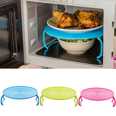 Microwave Round Micro Oven Plate Double Serving Tray Shelf Plastic Folding Lid