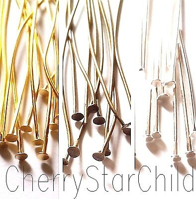 50 x FLAT HEAD PINS silver gold bronze findings 25mm - 50mm for craft  jewellery
