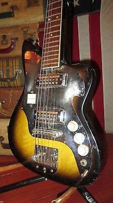Vintage 1960's Teisco Audition Solidbody Gold Foil Pickups Electric Guitar Cool!