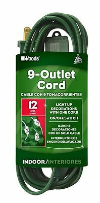 Coleman Cable 32189 2 Pack 12ft. 9 Outlet Indoor Extension Cord, Green
