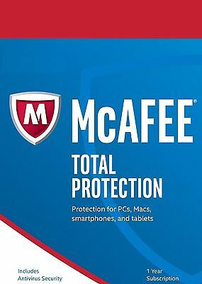 McAfee Total Protection 2017,1 Year - LATEST Unlimited Devices, NO DVD