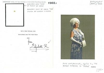 1965.1 1965	Queen Mother 'Elizabeth R' Autograph Christmas Card