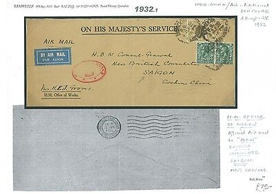 1932.1 1932	GB London Consular Air-External Official KGV/FRENCH COLONIES