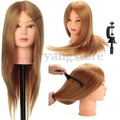 24'' 100% Real Hair Salon Hairdressing Mannequin Practice Training Head & Clamp